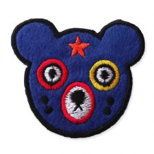 DIZZY BLUE BEAR HEAD MOTIF IRON ON EMBROIDERED PATCH APPLIQUE